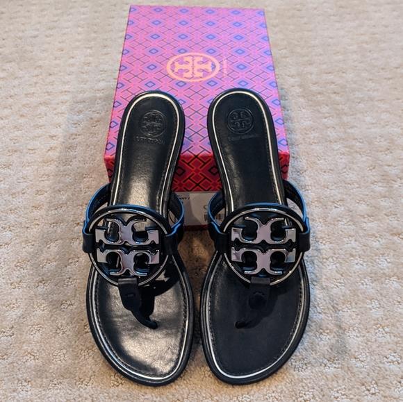 Tory Burch Shoes - NIB Tory Burch Metal Miller Sandal Navy Silver 9